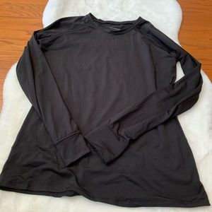 Cuddl Duds Blck Long Sleeve Thumb Hole Workout Top